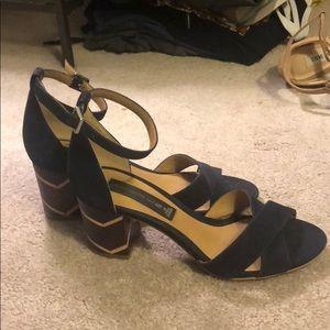 Steve Madden blue wood heeled sandal suede sz 6
